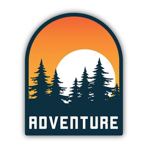 Adventure Sun Setting Behind Trees Sticker