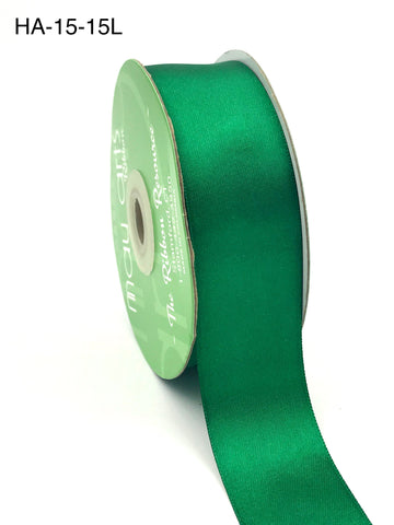 1.5 Inch Classic Double Faced Satin Ribbon with Woven Edge Green