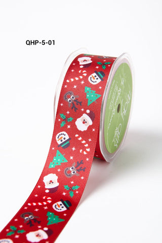 1.5 Inch Grosgrain Christmas Santa Snowman Tree Candy Cane Reindeer Print with Woven Edge