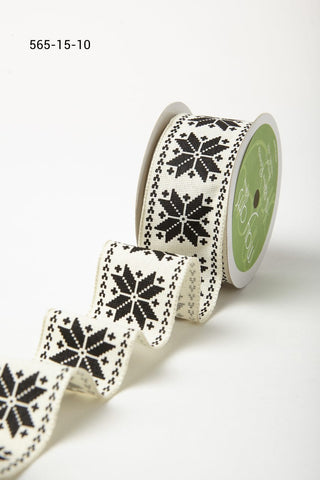 1.5 Inch Scandinavian Inspired Snowflake Print Ribbon with Wired Woven Edge Black and White