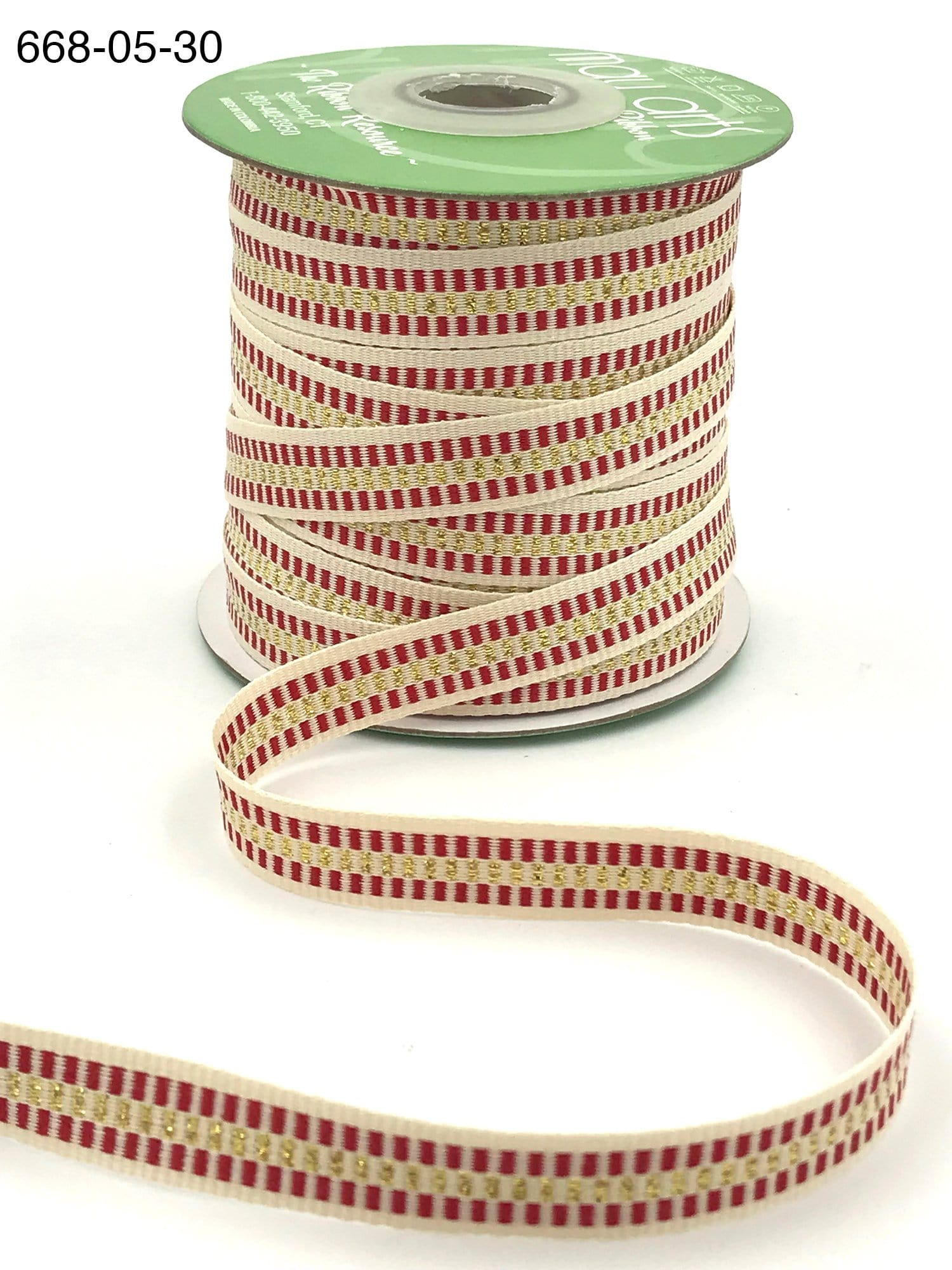 1/2 Inch Metallic Candy Cane Stripe Cotton Ribbon with Woven Edge - Gold
