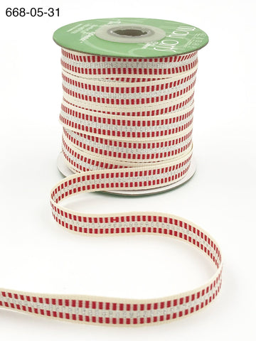 1/2 Inch Metallic Candy Cane Stripe Cotton Ribbon with Woven Edge - Silver