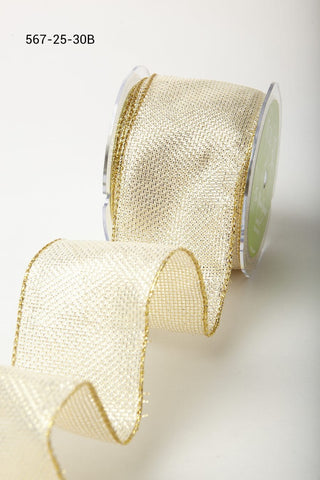 2.5 Inch Metallic Tweed Ribbon with Wired Edge Ivory Gold Square