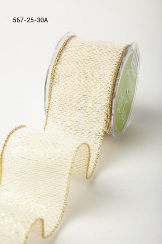 2.5 Inch Metallic Tweed Ribbon with Wired Edge Ivory Gold Zig Zag