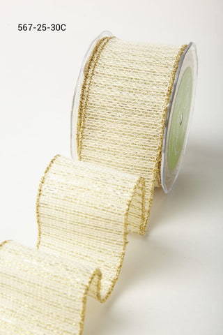2.5 Inch Metallic Tweed Ribbon with Wired Edge