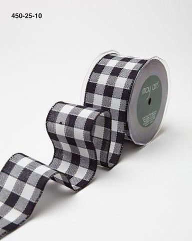 2.5 Inch Woven Checkered Ribbon with Wired Edge Black and White