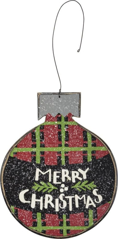 Plaid Merry Christmas Ornament