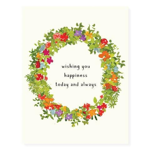 Flower Wreath Happiness Card