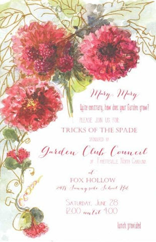 Berries and Dahlias Blank Invitations