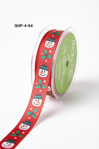 3/4 Inch Grosgrain Christmas Print Ribbon with Woven Edge Red Snowman and Holly