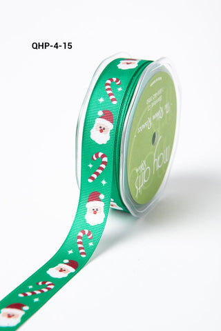 3/4 Inch Grosgrain Christmas Print Ribbon with Woven Edge Green Santa and Candy Cane