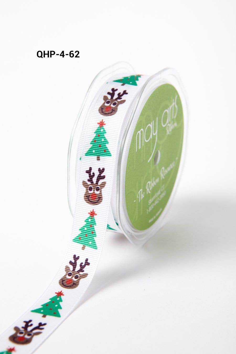 3/4 Inch Grosgrain Christmas Print Ribbon with Woven Edge White Reindeer and Tree