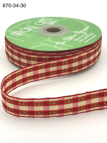 3/4 Inch Woven Metallic Red & Gold Plaid Ribbon with Woven Edge