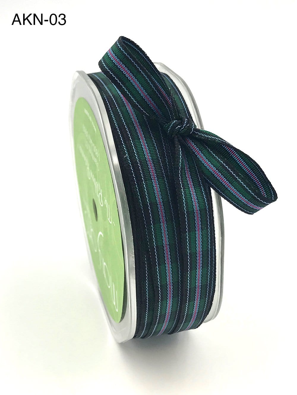 3/8 Inch Woven Checkered Ribbon with Woven Edge Green Black and Red