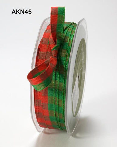 3/8 Inch Woven Checkered Ribbon with Woven Edge Red and Green