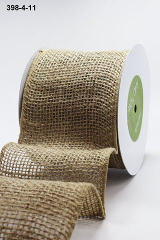 4 Inch Classic 100% Jute Loose Weave Ribbon with Wired Edge