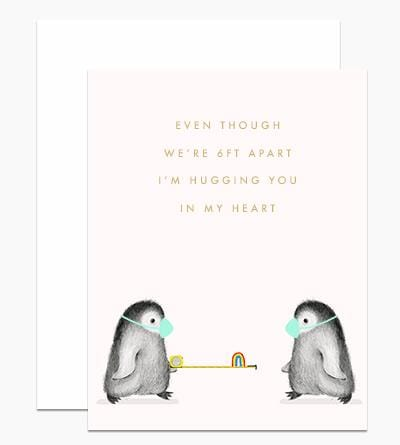 6ft Apart Penguins Card