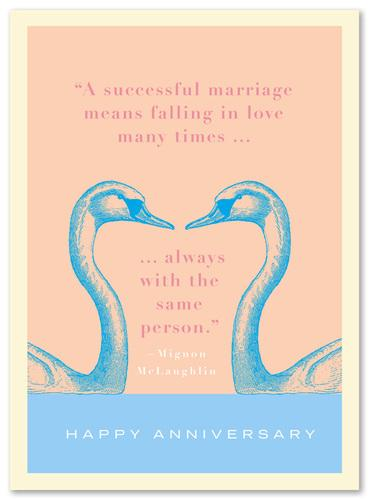 Anniversary Quote with Swans Card