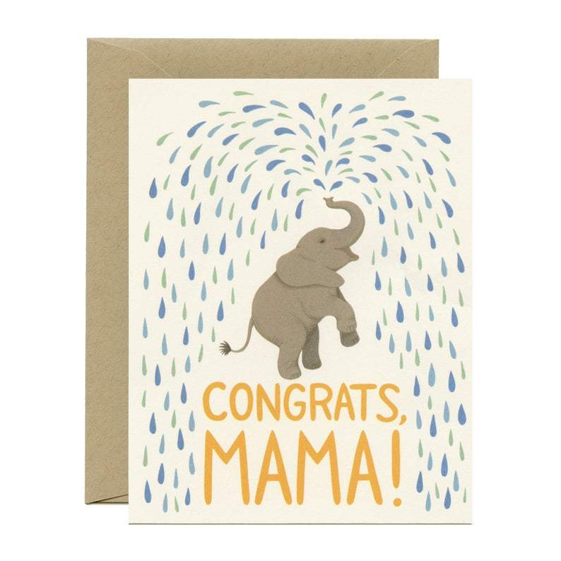 "Baby Shower Baby Elephant Card - ""Congrats, Mama!"""