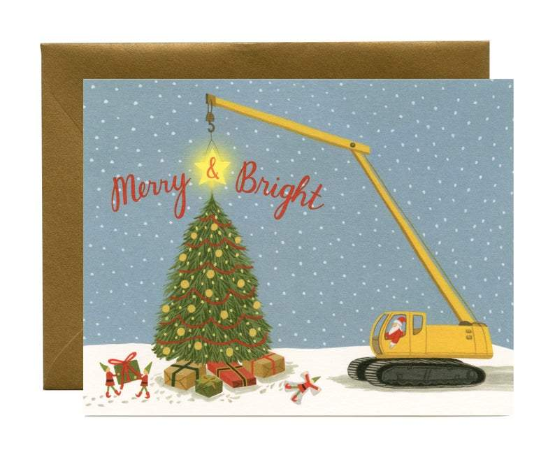 "Construction Santa and Elves Christmas Card - ""Merry & Bright"""