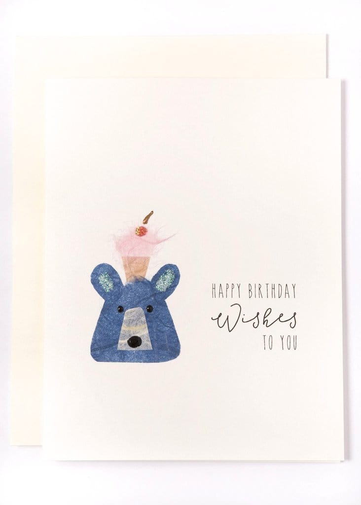 Happy Birthday Wishes to You Bear with Cupcake Card