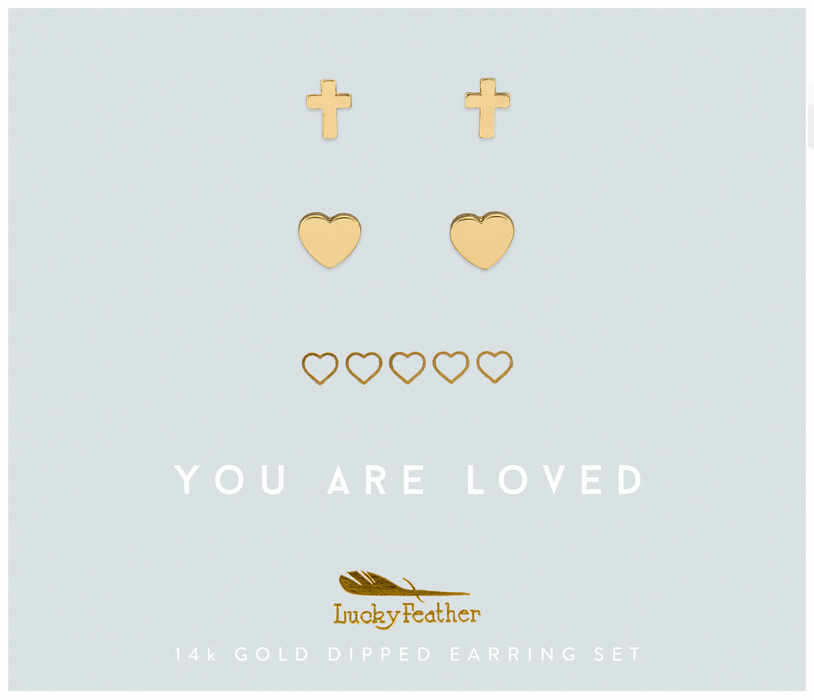 Faith Gold Cross Earring Set