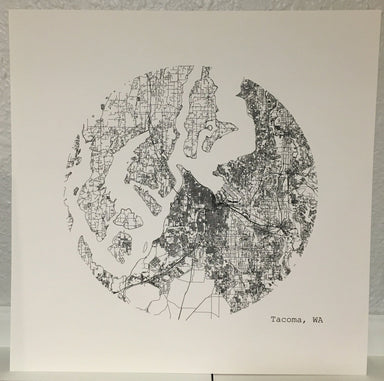 Tacoma City Map Print in Circle