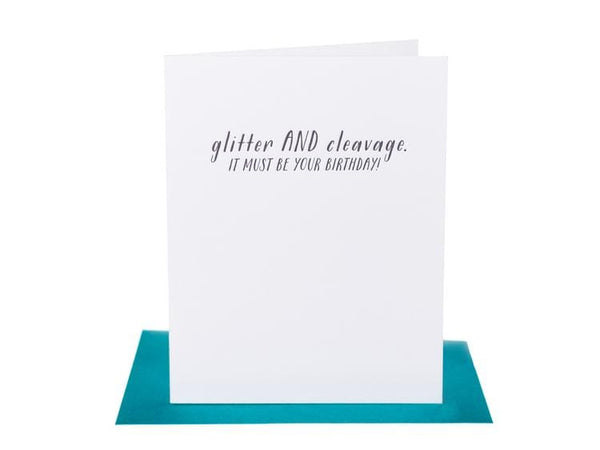 Glitter AND Cleavage. It must be your birthday - Single Card