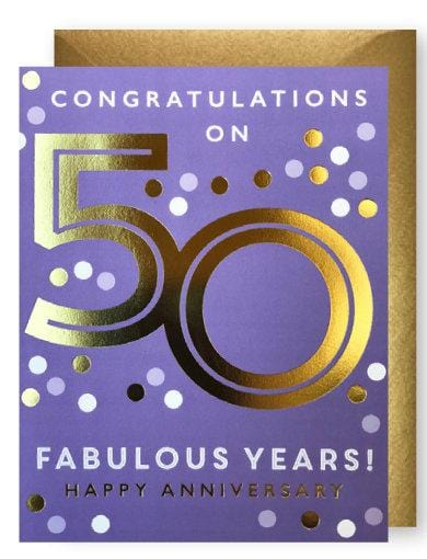 Gold 50th Anniversary Card