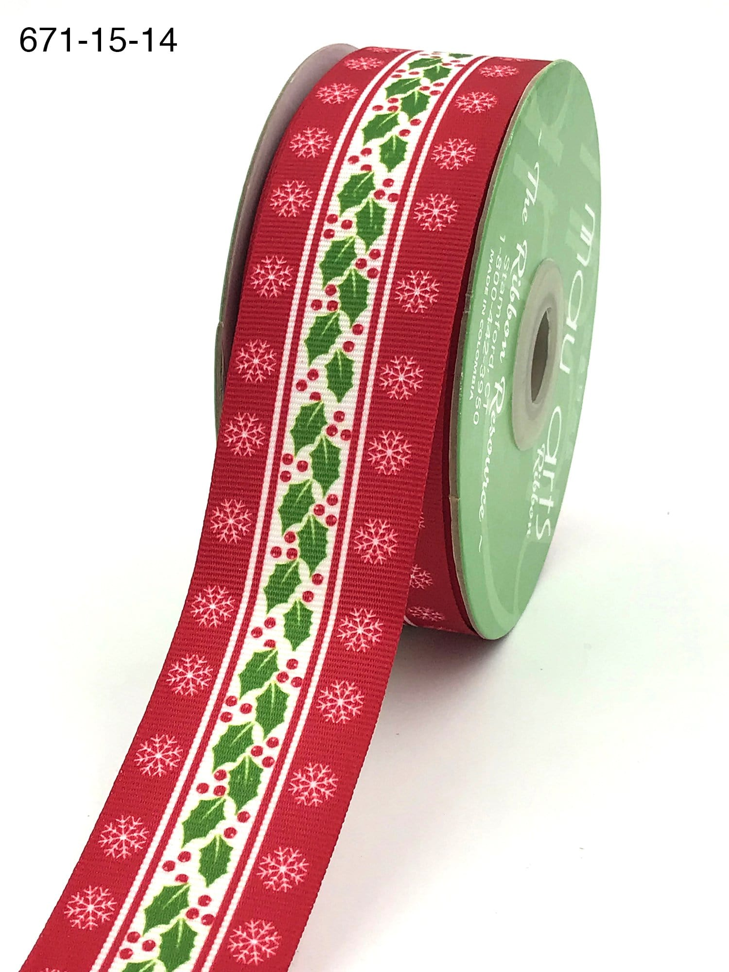 1.5 Inch Stiff Grosgrain Holly Berry Snowflake Print Ribbon with Woven Edge