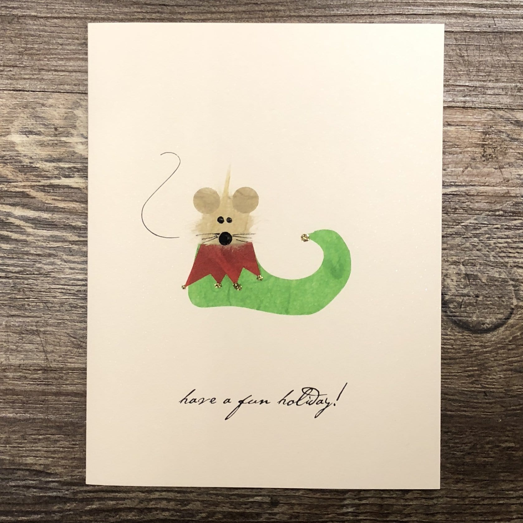 Mouse in Elf Shoe Card