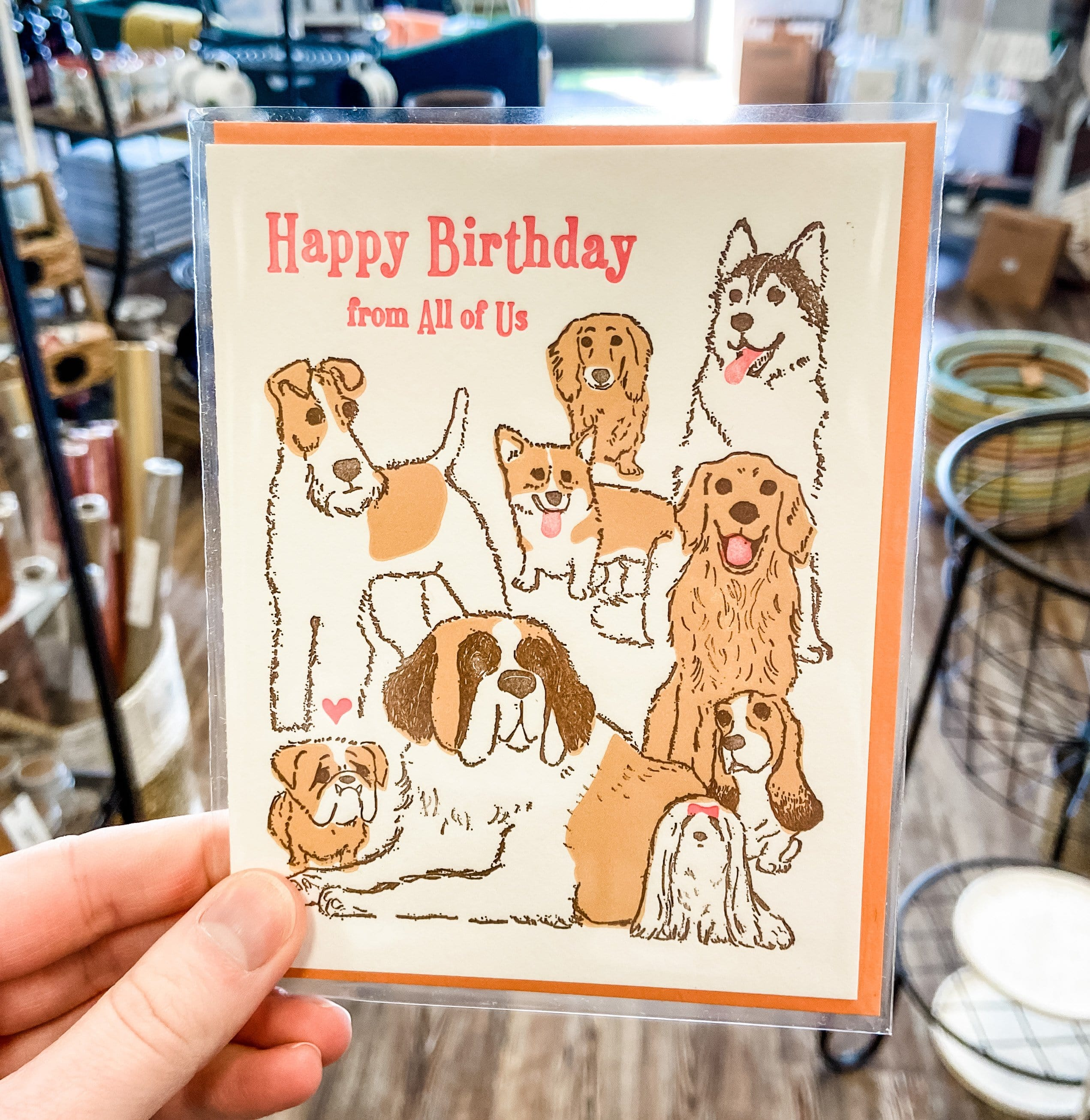 Dogs Happy Birthday from All of Us Card
