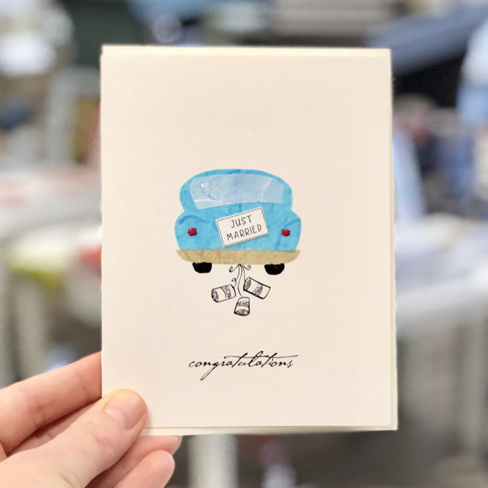 Just Married Car with Cans Card