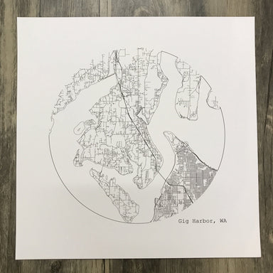 Gig Harbor Map in Circle Print