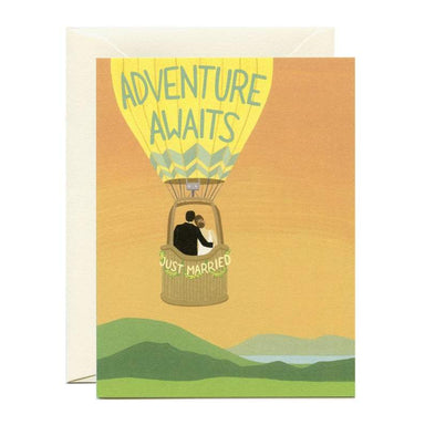 """Adventure Awaits"" Wedding Card"