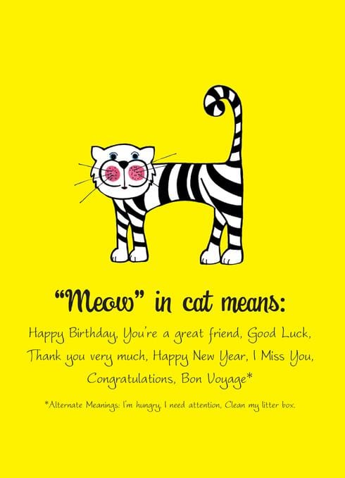 Meow in Cat Birthday Card