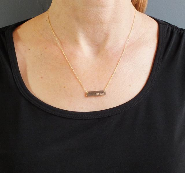 Loved Small Bar Necklace Gold-Fill
