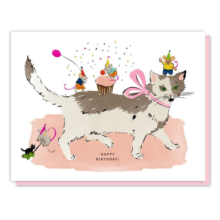 Cat and Mouse Birthday Party Card