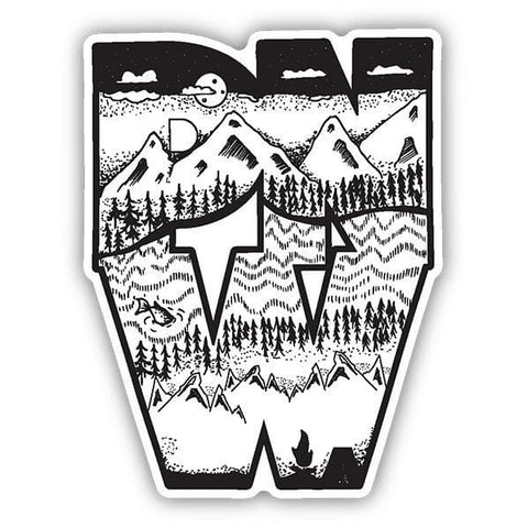PNW Block Mountain Sketch Sticker