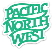 Pacific Northwest Monogram Aqua Sticker