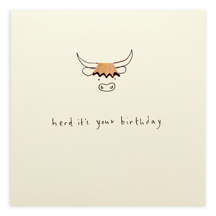 Birthday Highland Cow Pencil Shavings Card