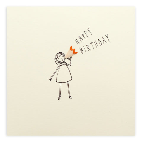 Birthday Loud Hailer Pencil Shavings Card