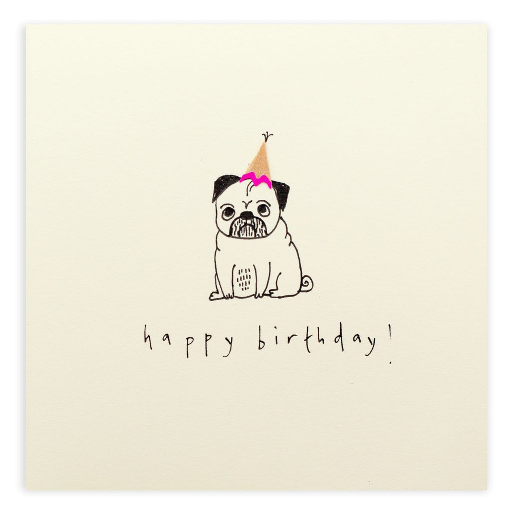Birthday Pug Pencil Shavings Card Paper Luxe