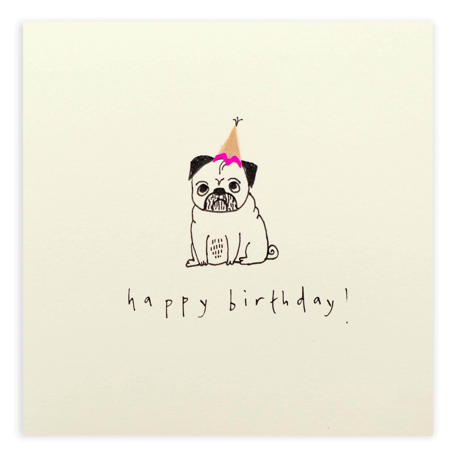 Birthday Pug Pencil Shavings Card