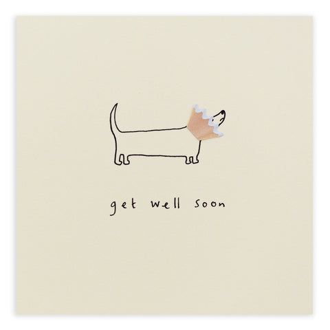 Get Well Dog Cone Pencil Shavings Card