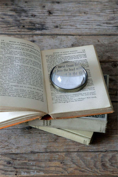 "3"" Round Metal & Glass Paperweight/Magnifying Glass"