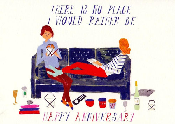 Cheers From the Couch Anniversary Card