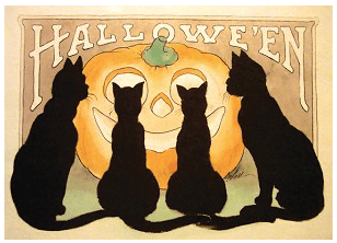 Four Black Cats Card