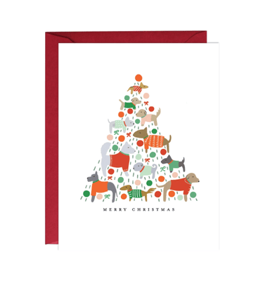 Dogs Christmas Tree Boxed Card Set