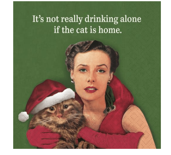 Drinking Alone Christmas Cat Beverage Napkins